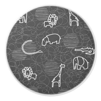 safari animals 5 ceramic knob