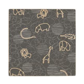 safari animals 5 wood coaster
