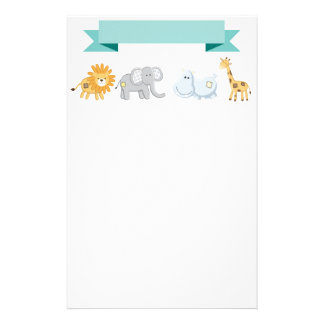 Safari Animals Banner Personalised Stationery