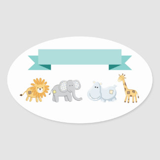 Safari Animals Banner Oval Sticker