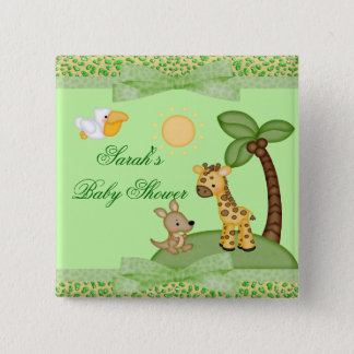 Safari Animals Cheetah Print Baby Shower 15 Cm Square Badge