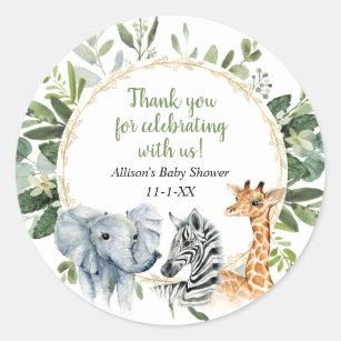 Safari animals greenery gold baby shower classic round sticker
