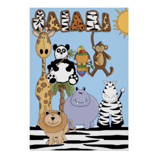 Safari Animals Nursery Poster