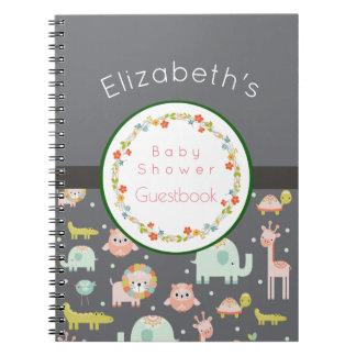 Safari Animals Pattern Baby Shower Guestbook Spiral Notebook