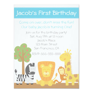 Safari Animals theme first birthday party 11 Cm X 14 Cm Invitation Card
