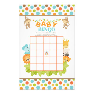 Safari Baby Bingo Game with Animals Customized Stationery