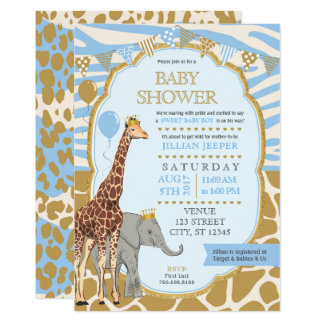 Safari Baby Shower Invitation - Blue Boy