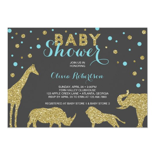 Safari Baby Shower Invitation, Faux Gold, Aqua Card