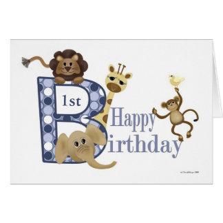 Safari Birthday in Blue Template Greeting Card
