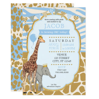 Safari Birthday Invitation - Blue