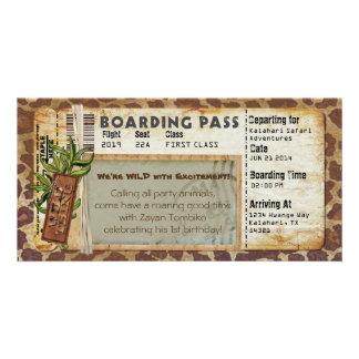 Safari Boarding Pass Personalized Photo Card