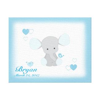 Safari Elephant Blue Grey Gray Baby Boy Nursery Canvas Print