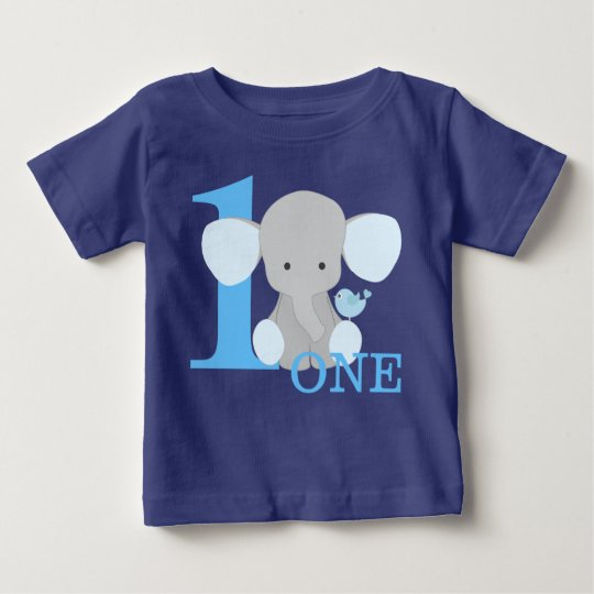 Safari Elephant Blue One Year First Birthday Boy