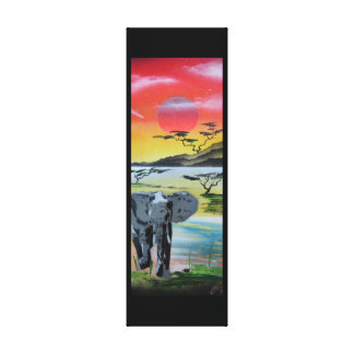 Safari elephant in Sunset stretched canvas Gallery Wrap Canvas