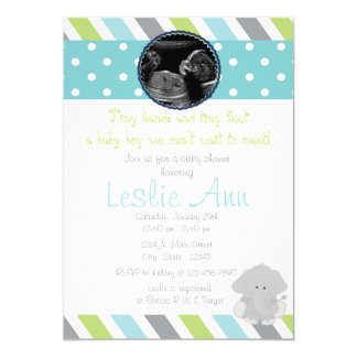 Safari Elephant Photo Blues Baby Shower Invitation