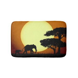 Safari elephants at sunset bath mat