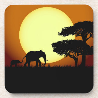 Safari elephants at sunset drink coaster