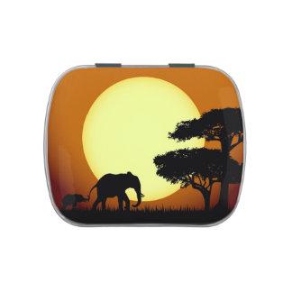 Safari elephants at sunset jelly belly tins