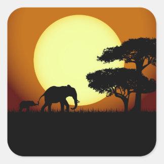 Safari elephants at sunset square sticker