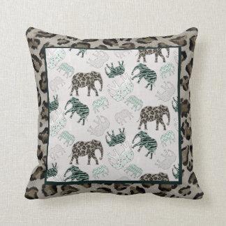 Safari Elephants Baby Boy Nursery Jungle Animals Cushion