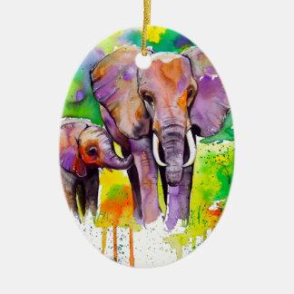 Safari Elephants Ceramic Oval Decoration