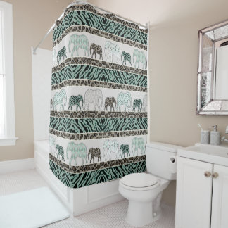 Safari Elephants Jungle Animal Leopard Zebra Decor Shower Curtain