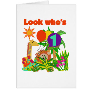 Safari First Birthday Tshirts and Gifts Greeting Card