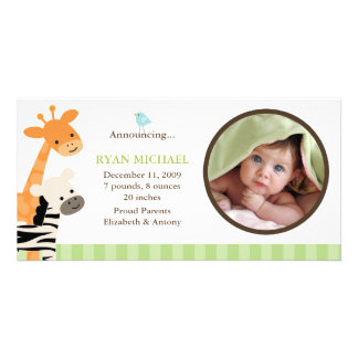 Safari Friends Birth Announcement Photo Card