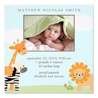 """Safari Friends Birth Announcements 5.25"""" Square Invitation Card"""