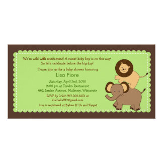 Safari Friends Jungle Baby Shower Invitations Photo Card