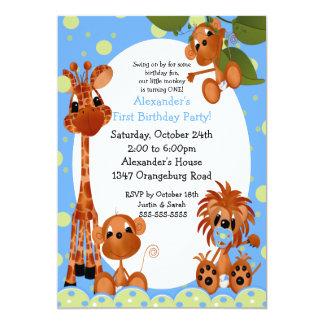 Safari Fun 1st Birthday 13 Cm X 18 Cm Invitation Card