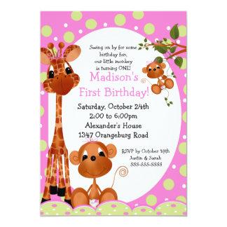 Safari Fun Girls 1st Birthday Personalized Invitation
