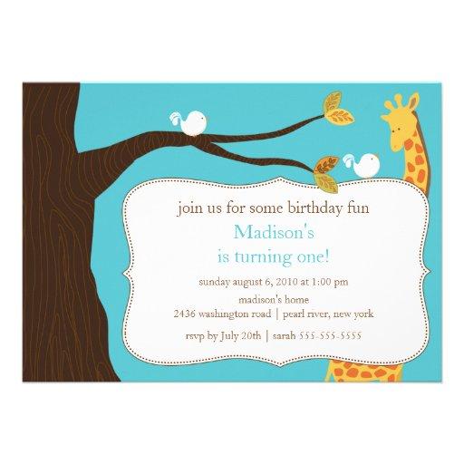 Safari Giraffe Birthday Invitation