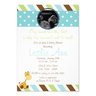 Safari Giraffe Photo Blues Baby Shower Invitation