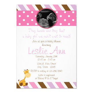 Safari Giraffe Photo Pinks Baby Shower Invitation