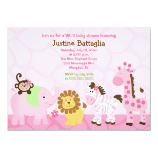 Safari Girl Customized Baby Shower Invitation