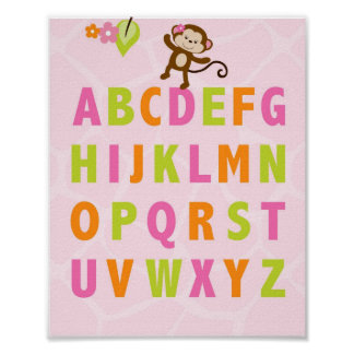Safari Girl Jungle Alphabet Nursery Wall Print