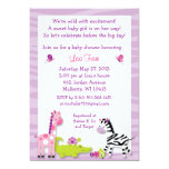 Safari Girl Jungle Animal Baby Shower Invitations