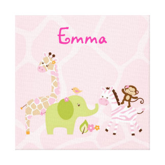 Safari Girl Jungle Animal Canvas Nursery Wall Art Stretched Canvas Prints