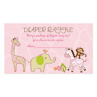 Safari Girl Jungle Animal Diaper Raffle Tickets Pack Of Standard Business Cards