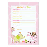 Safari Girl Jungle Animal Wishes for Baby Card Personalized Invite