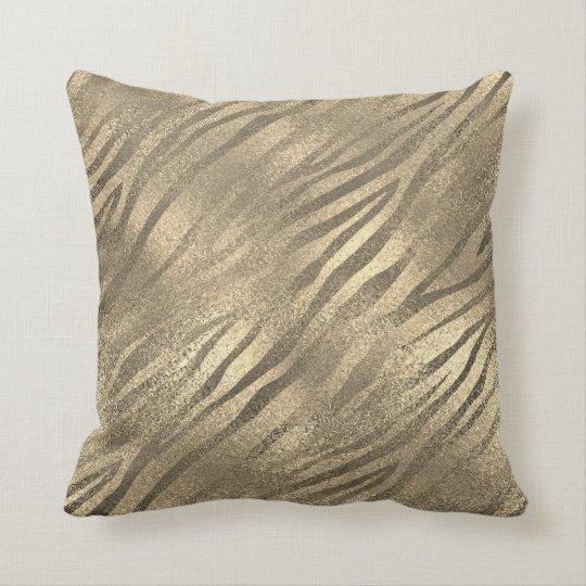 Safari Gold Zebra Animal Skin Sepia Glass Metallic Cushion