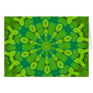 Safari green Kaleidoscope Greeting Cards