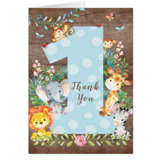Safari Jungle 1st Birthday Thank You Note Card