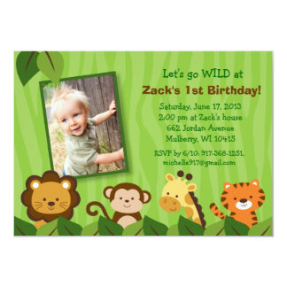 Safari Jungle Animal Birthday Invitations