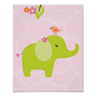 Safari Jungle Animal Elephant Nursery Wall Print