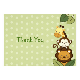Safari Jungle Animal Flat Thank You Note Cards Personalized Announcement