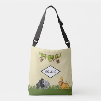 Safari Jungle Animal Illustration Adventure Awaits Crossbody Bag