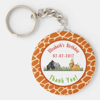 Safari Jungle Animal Illustration Birthday Thanks Key Ring
