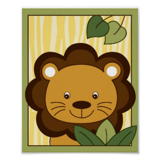 Safari Jungle Animal Lion Nursery Wall Art Print